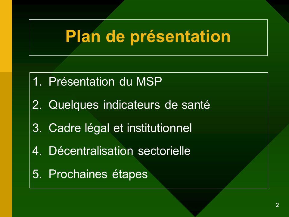 Plan de présentation Présentation du MSP Quelques indicateurs de santé