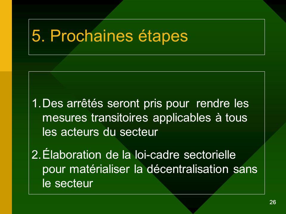 5. Prochaines étapes Des arrêtés seront pris pour rendre les mesures transitoires applicables à tous les acteurs du secteur.