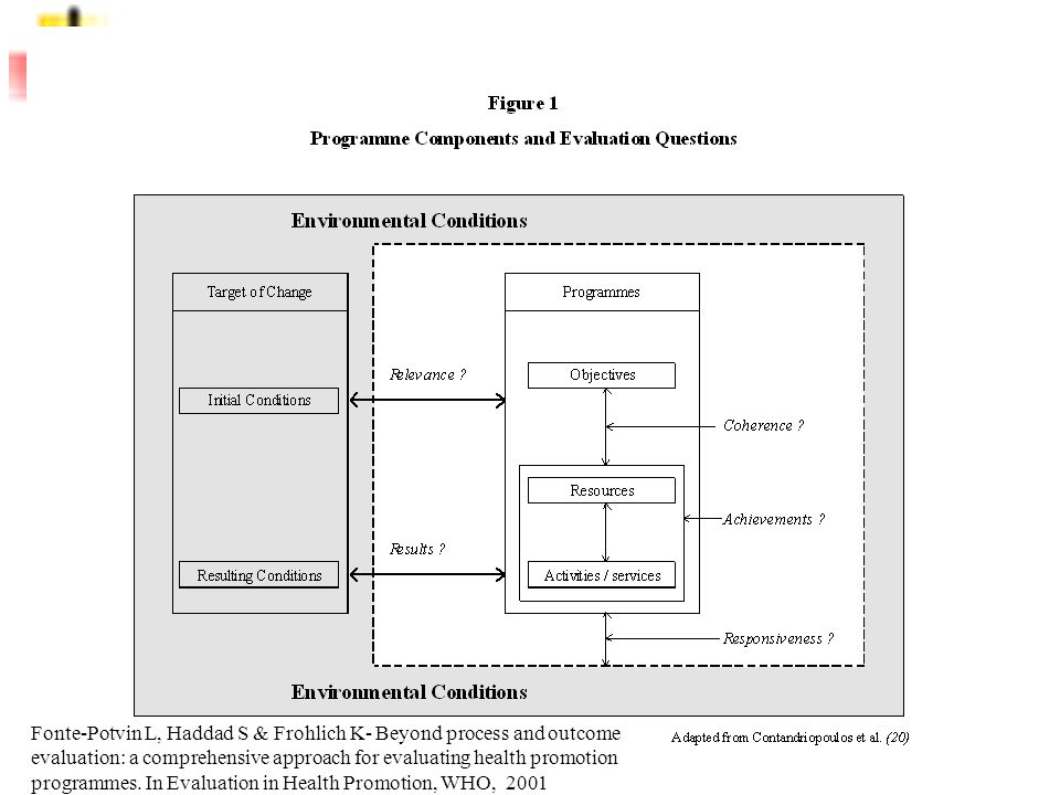 Fonte-Potvin L, Haddad S & Frohlich K- Beyond process and outcome evaluation: a comprehensive approach for evaluating health promotion programmes.