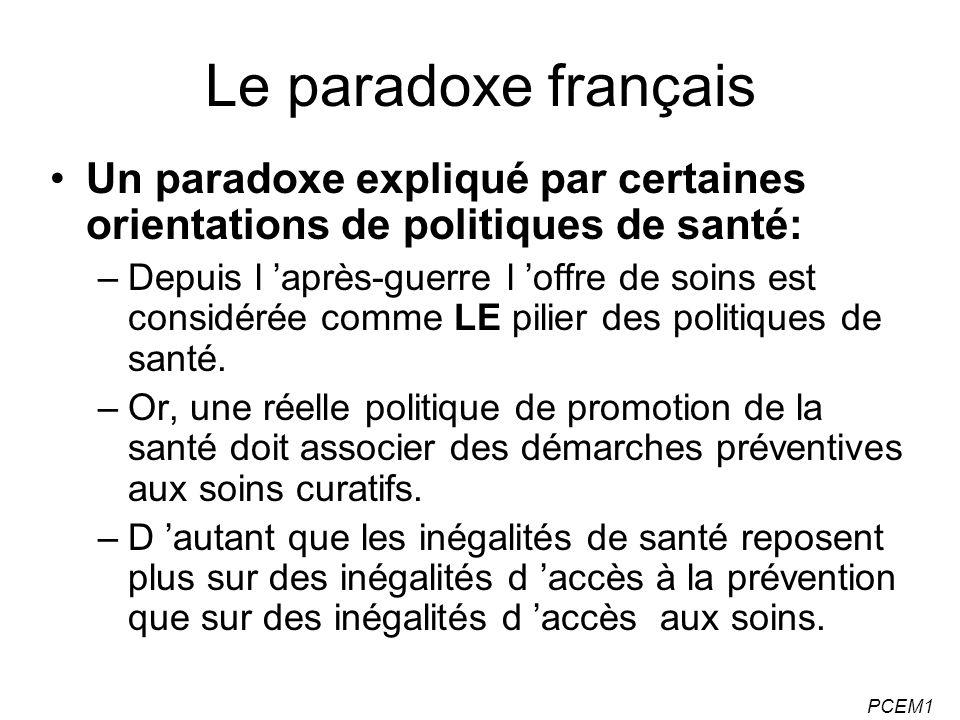Le paradoxe français Un paradoxe expliqué par certaines orientations de politiques de santé:
