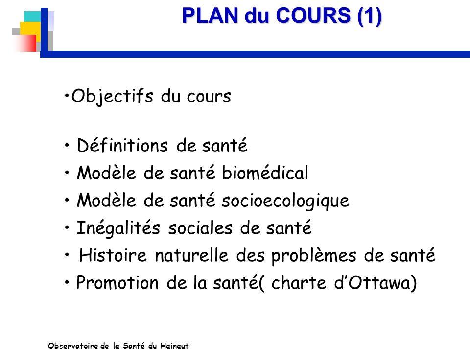 PLAN du COURS (1) Objectifs du cours Définitions de santé