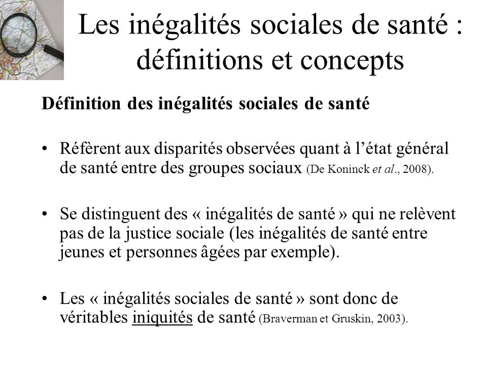 Les inégalités sociales de santé : définitions et concepts