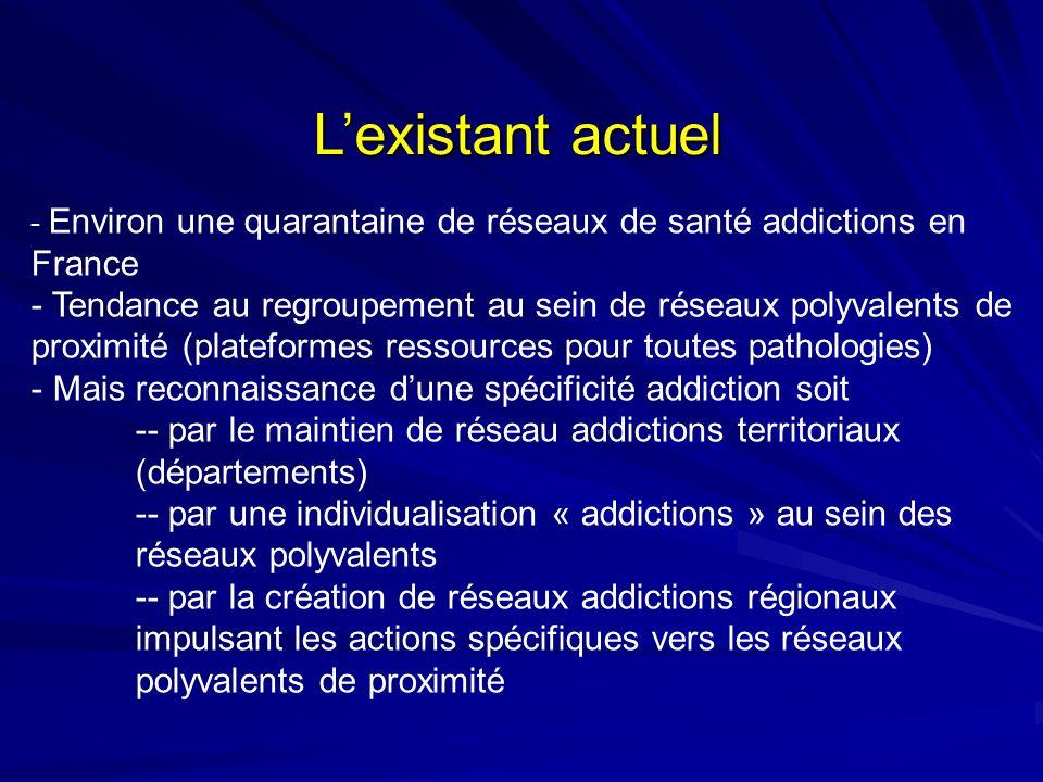 L'existant actuel Environ une quarantaine de réseaux de santé addictions en France.