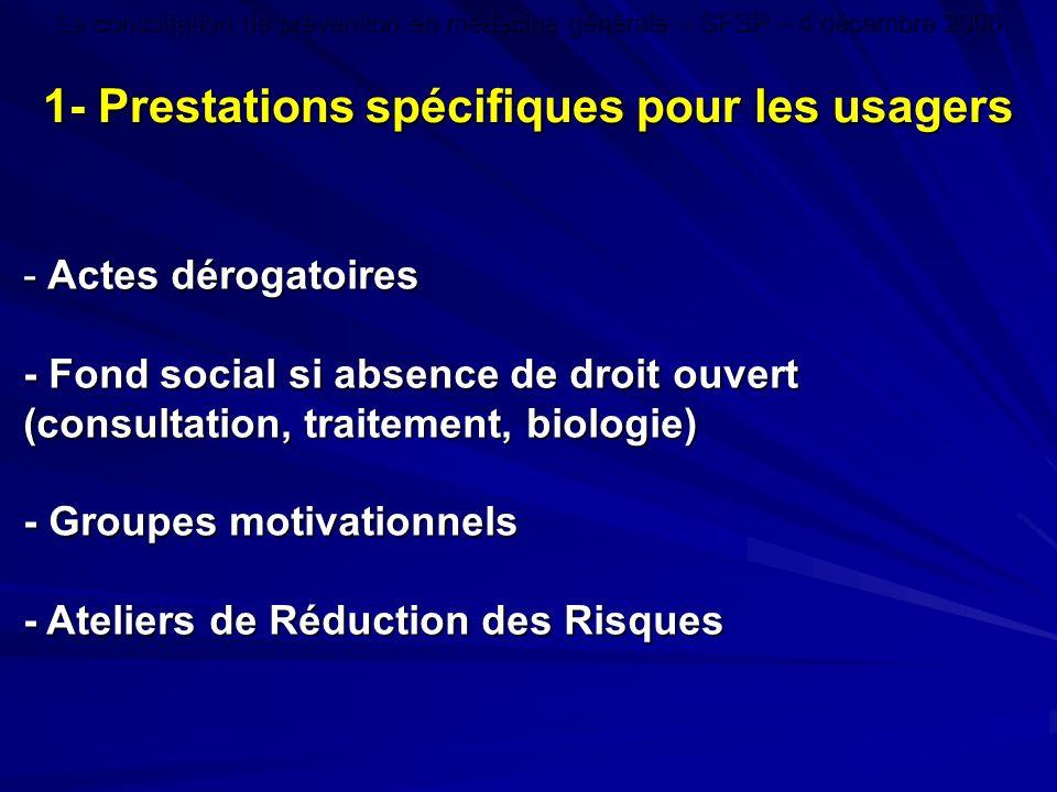1- Prestations spécifiques pour les usagers