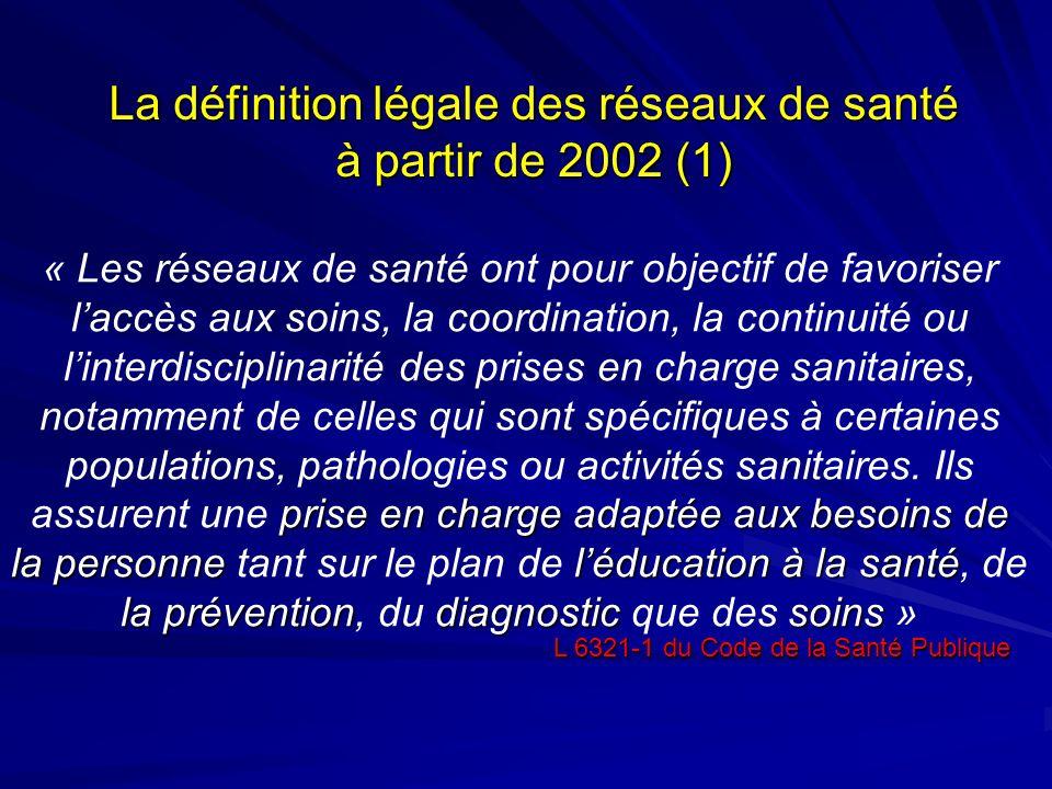 La définition légale des réseaux de santé