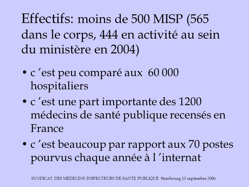 Effectifs: moins de 500 MISP (565 dans le corps, 444 en activité au sein du ministère en 2004)