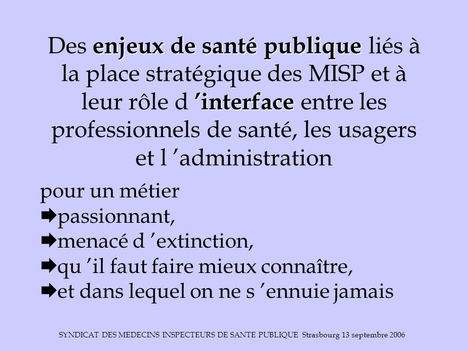 Des enjeux de santé publique liés à la place stratégique des MISP et à leur rôle d 'interface entre les professionnels de santé, les usagers et l 'administration