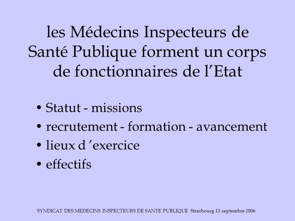 les Médecins Inspecteurs de Santé Publique forment un corps de fonctionnaires de l'Etat