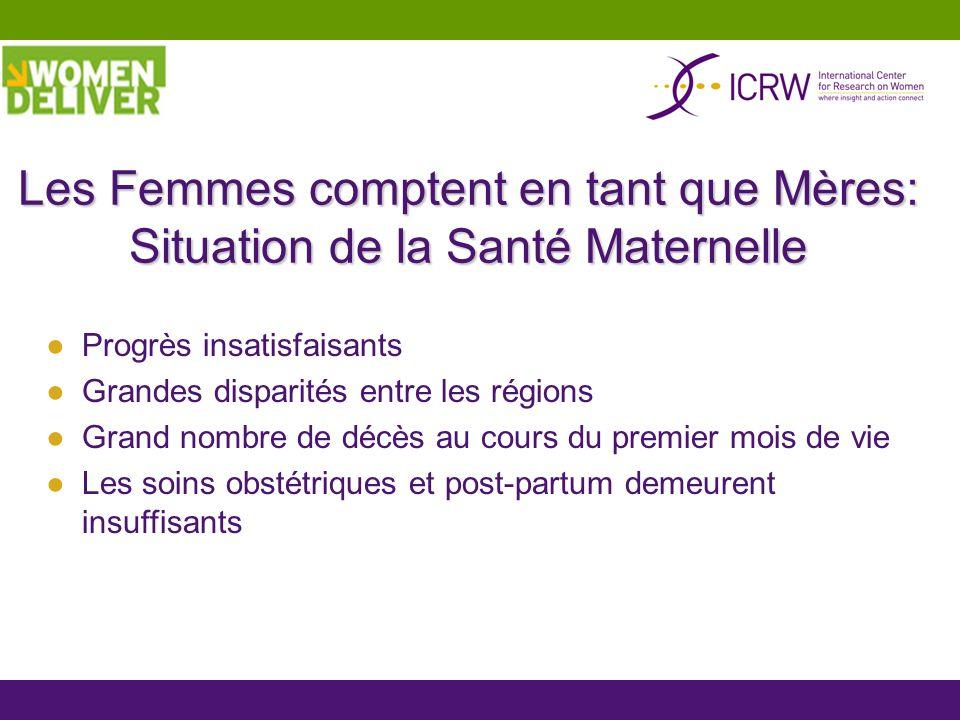 Les Femmes comptent en tant que Mères: Situation de la Santé Maternelle