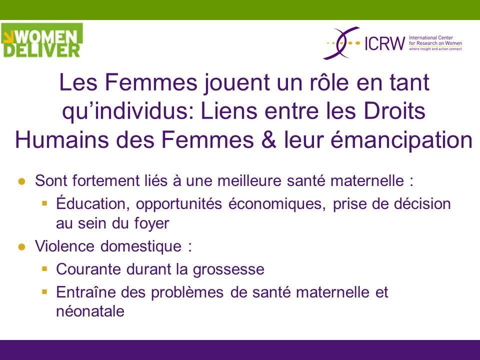 Les Femmes jouent un rôle en tant qu'individus: Liens entre les Droits Humains des Femmes & leur émancipation