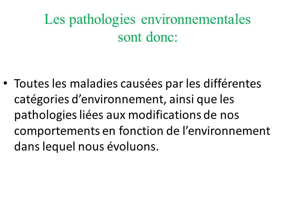 Les pathologies environnementales sont donc: