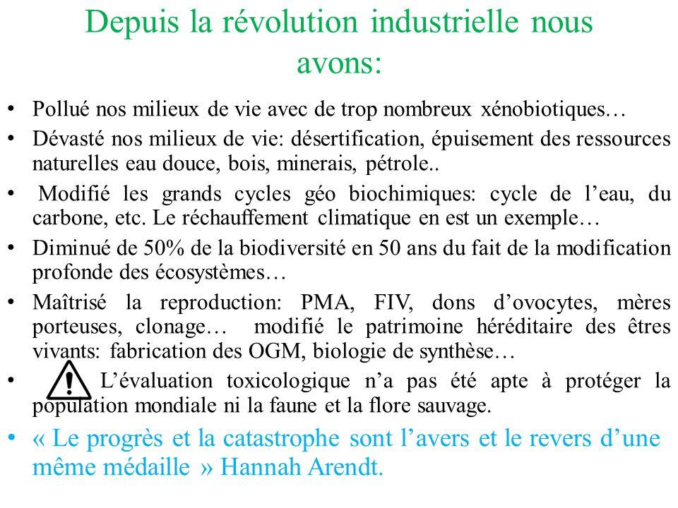 Depuis la révolution industrielle nous avons: