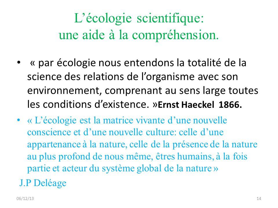 L'écologie scientifique: une aide à la compréhension.