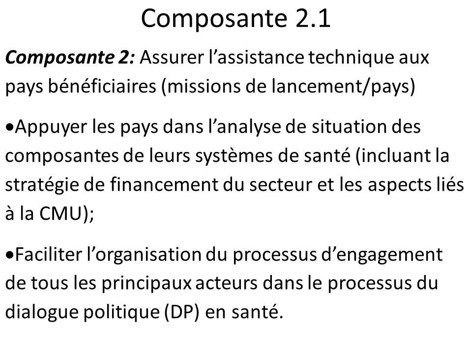 Composante 2.1 Composante 2: Assurer l'assistance technique aux pays bénéficiaires (missions de lancement/pays)
