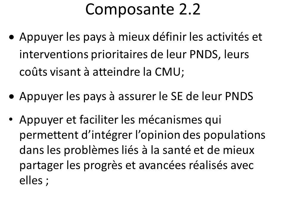 Composante 2.2 Appuyer les pays à mieux définir les activités et interventions prioritaires de leur PNDS, leurs coûts visant à atteindre la CMU;