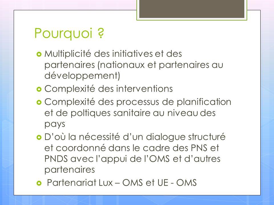 Pourquoi Multiplicité des initiatives et des partenaires (nationaux et partenaires au développement)
