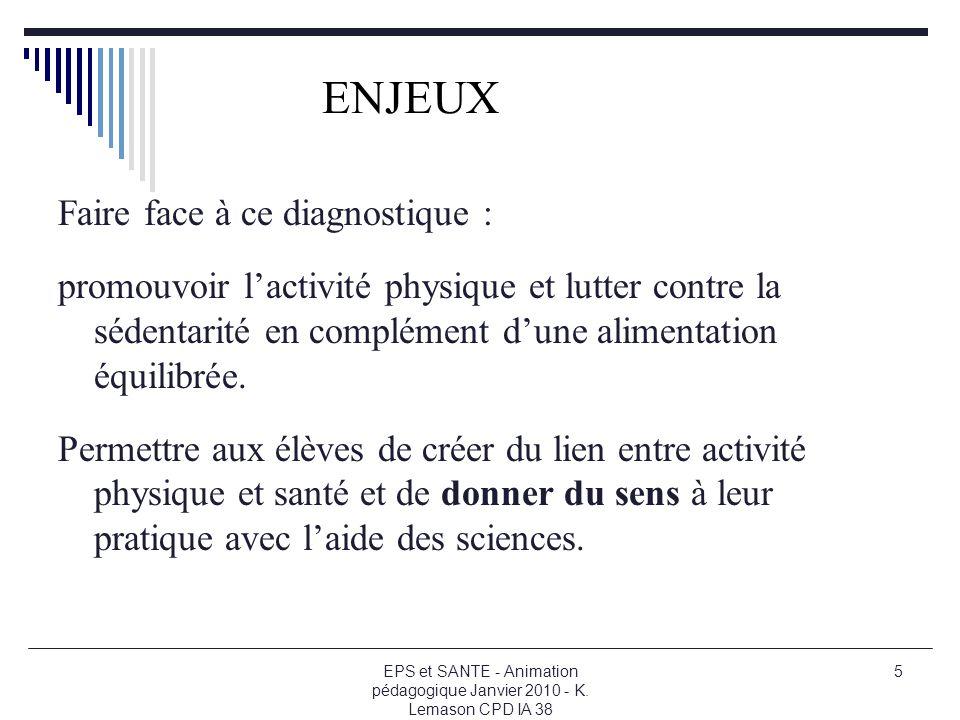 ENJEUX Faire face à ce diagnostique :