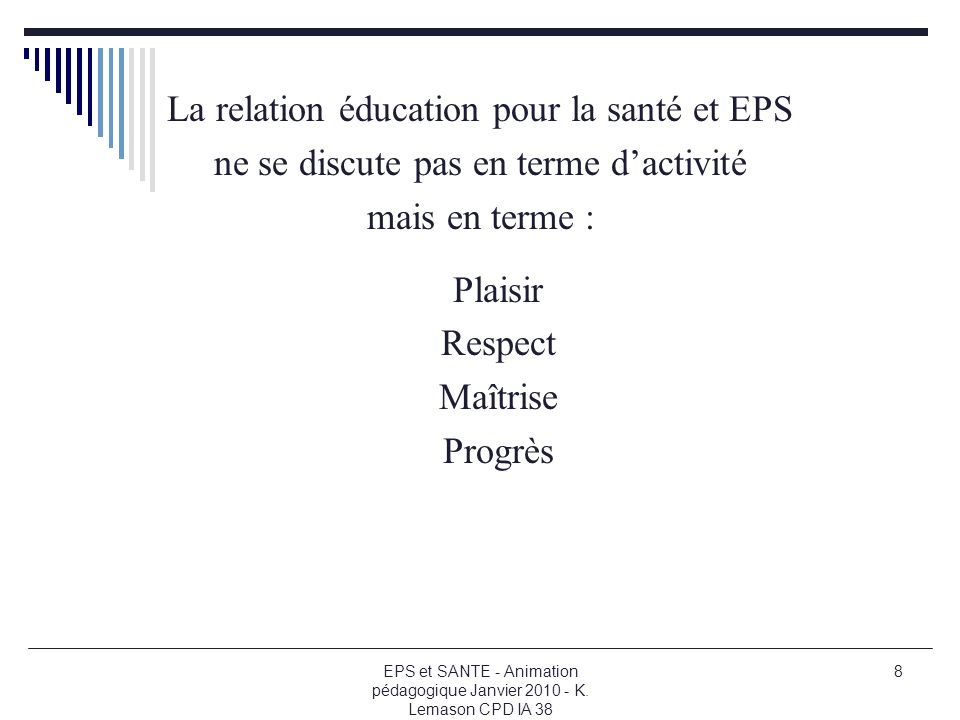 La relation éducation pour la santé et EPS