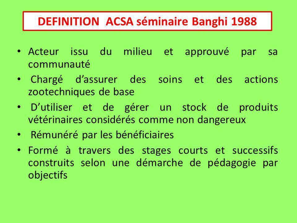 DEFINITION ACSA séminaire Banghi 1988