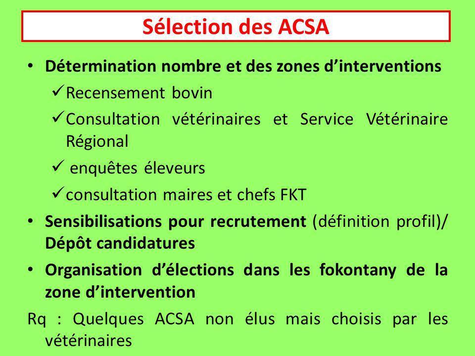 Sélection des ACSA Détermination nombre et des zones d'interventions