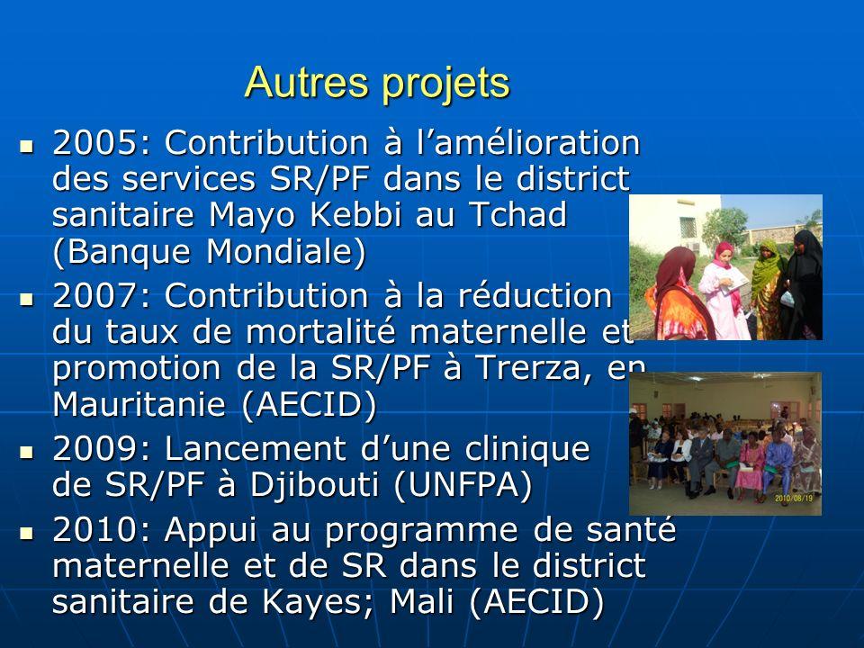 Autres projets 2005: Contribution à l'amélioration des services SR/PF dans le district sanitaire Mayo Kebbi au Tchad (Banque Mondiale)