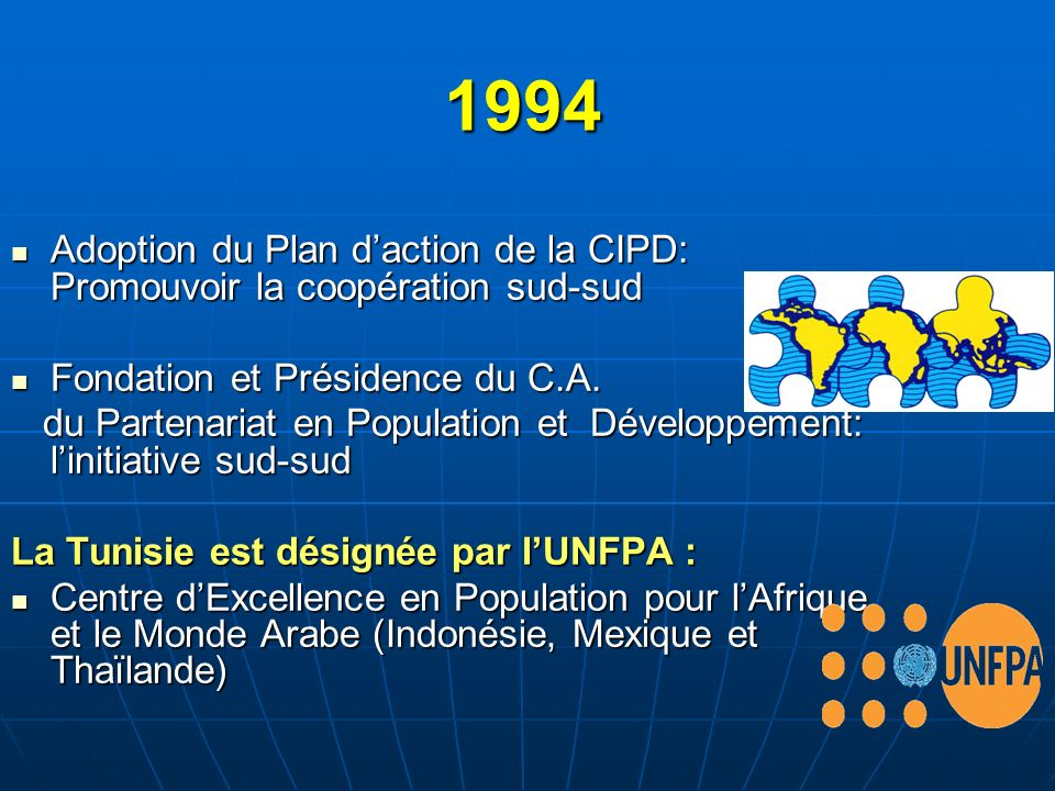 1994 Adoption du Plan d'action de la CIPD: Promouvoir la coopération sud-sud. Fondation et Présidence du C.A.