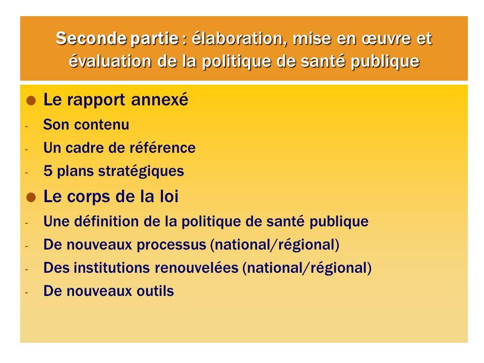 Seconde partie : élaboration, mise en œuvre et évaluation de la politique de santé publique