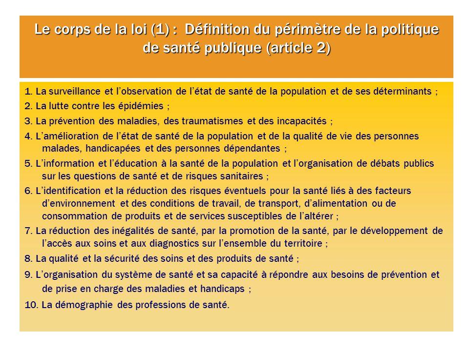 Le corps de la loi (1) : Définition du périmètre de la politique de santé publique (article 2)