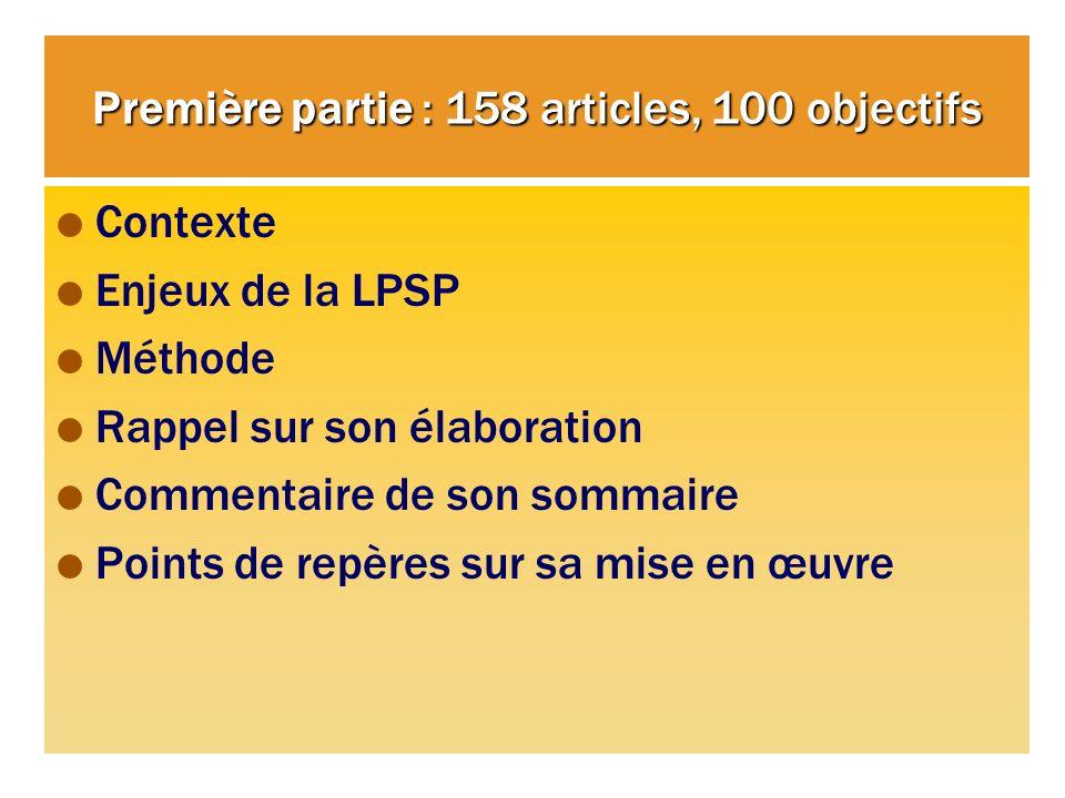 Première partie : 158 articles, 100 objectifs