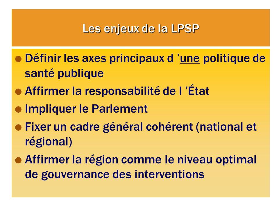 Les enjeux de la LPSP Définir les axes principaux d 'une politique de santé publique. Affirmer la responsabilité de l 'État.