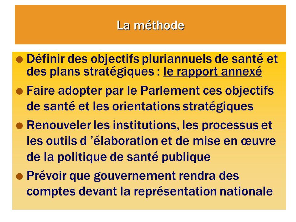 La méthode Définir des objectifs pluriannuels de santé et des plans stratégiques : le rapport annexé.