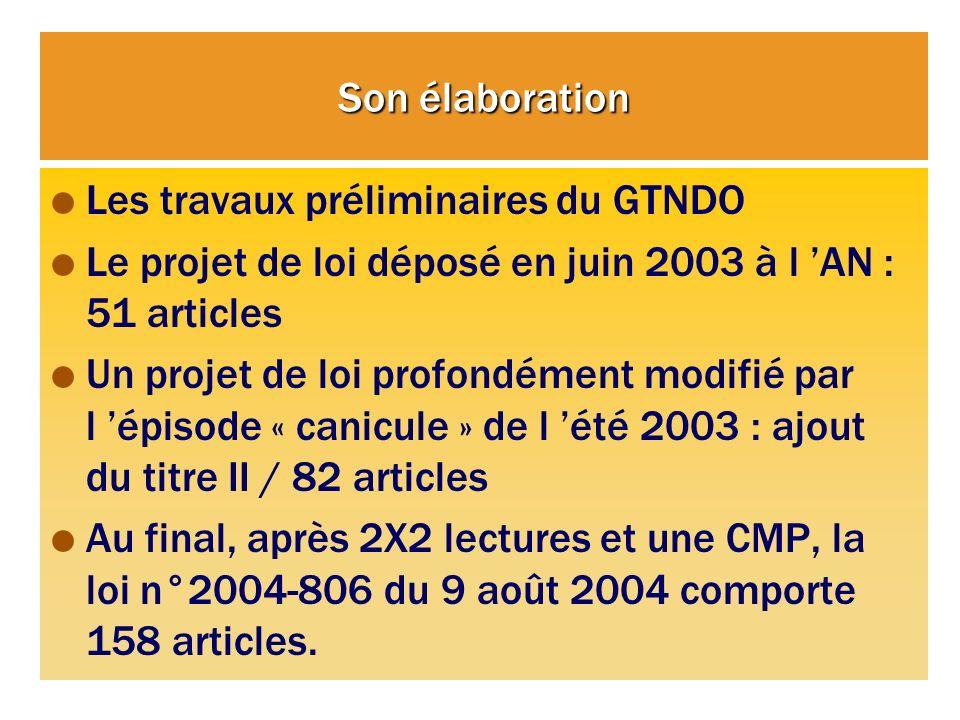 Son élaboration Les travaux préliminaires du GTNDO. Le projet de loi déposé en juin 2003 à l 'AN : 51 articles.