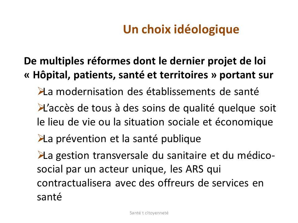Un choix idéologique De multiples réformes dont le dernier projet de loi « Hôpital, patients, santé et territoires » portant sur.