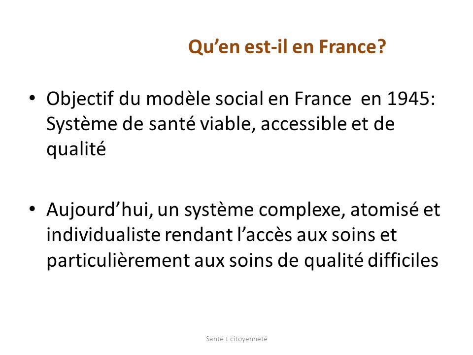 Qu'en est-il en France Objectif du modèle social en France en 1945: Système de santé viable, accessible et de qualité.