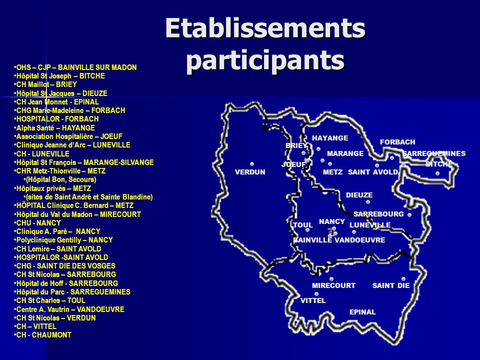 Etablissements participants