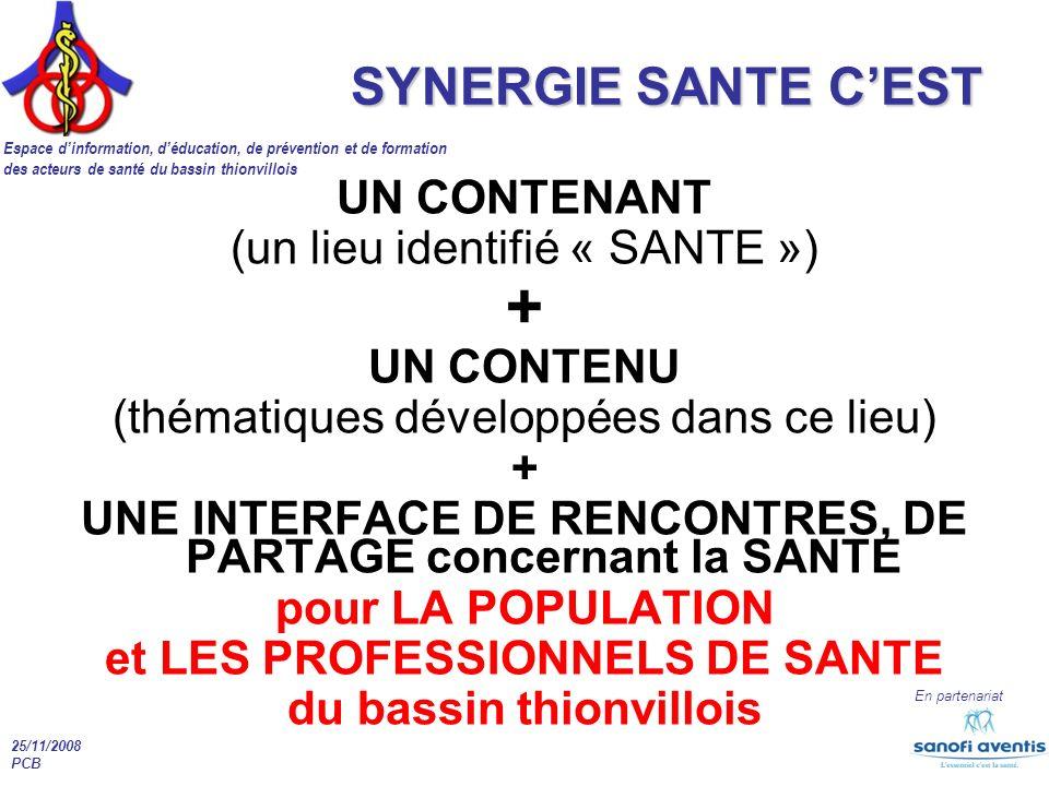 + SYNERGIE SANTE C'EST UN CONTENANT (un lieu identifié « SANTE »)