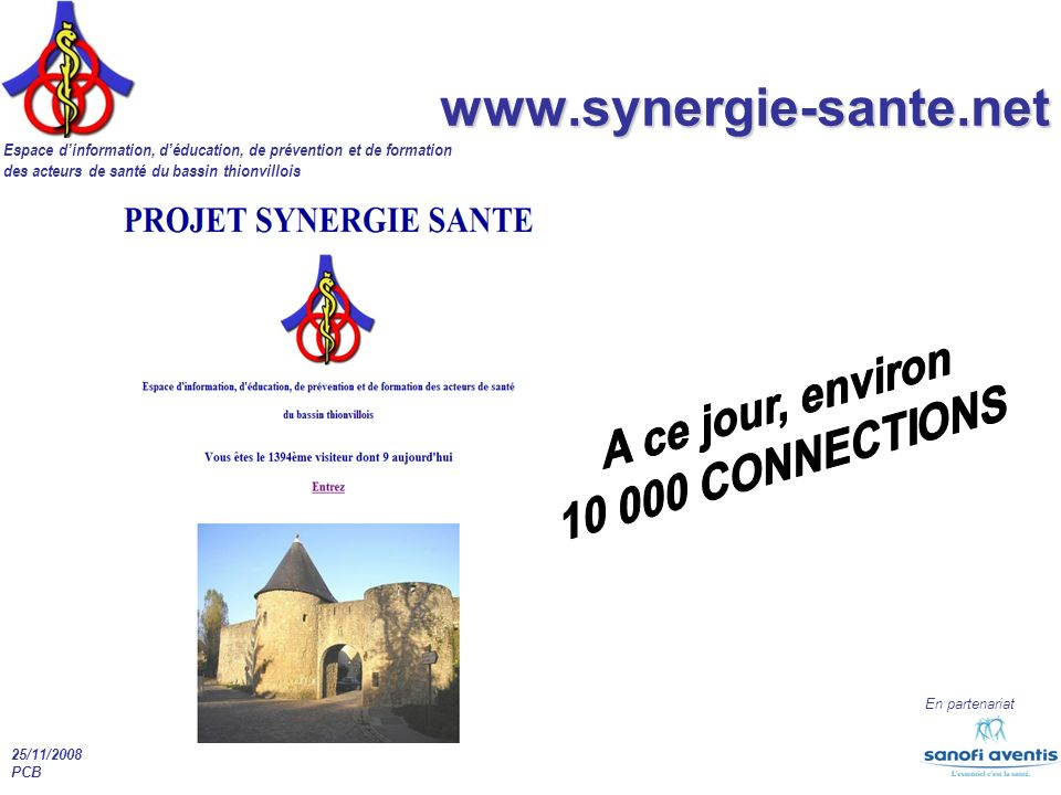 www.synergie-sante.net A ce jour, environ 10 000 CONNECTIONS