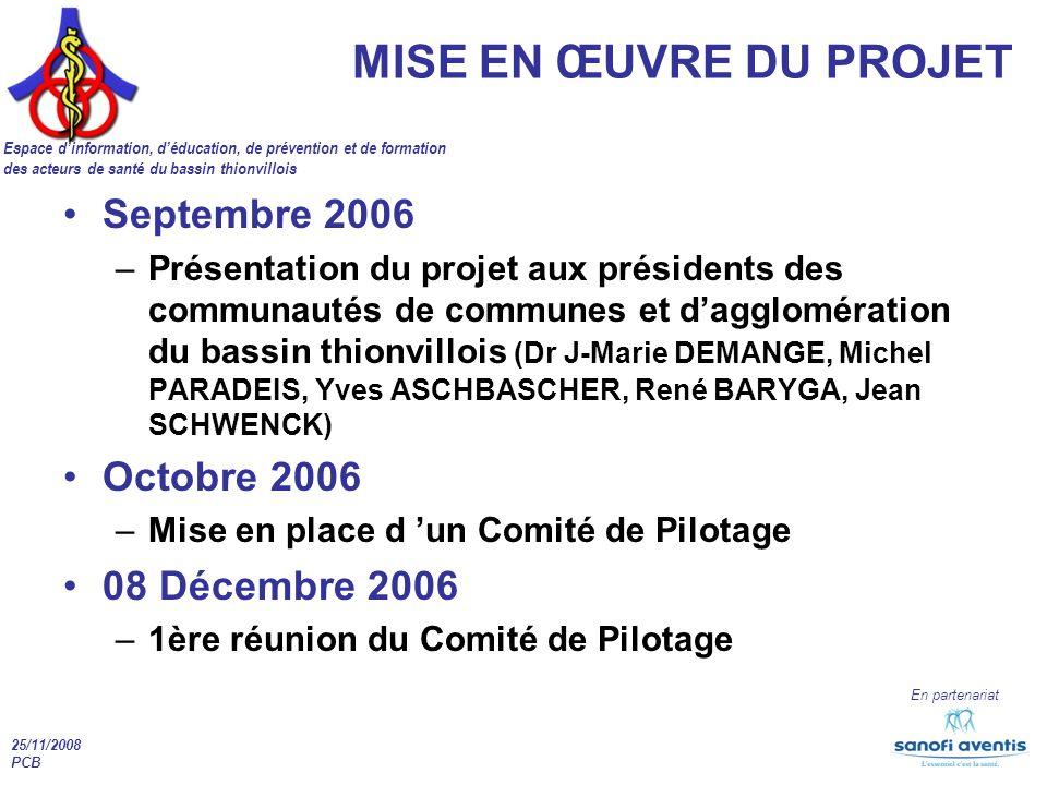 MISE EN ŒUVRE DU PROJET Septembre 2006 Octobre 2006 08 Décembre 2006