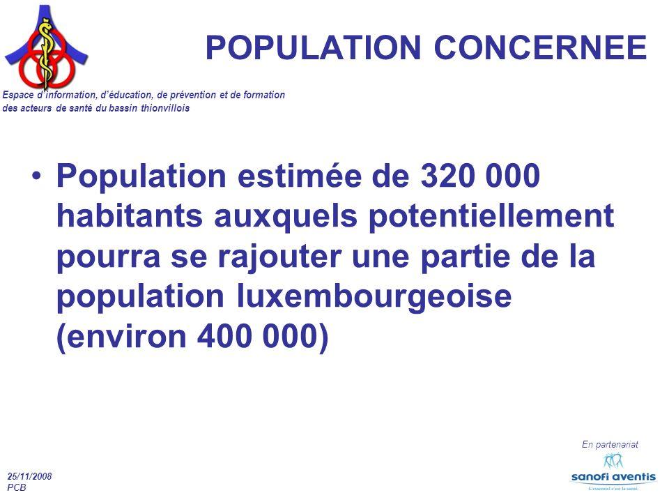POPULATION CONCERNEE Espace d'information, d'éducation, de prévention et de formation. des acteurs de santé du bassin thionvillois.