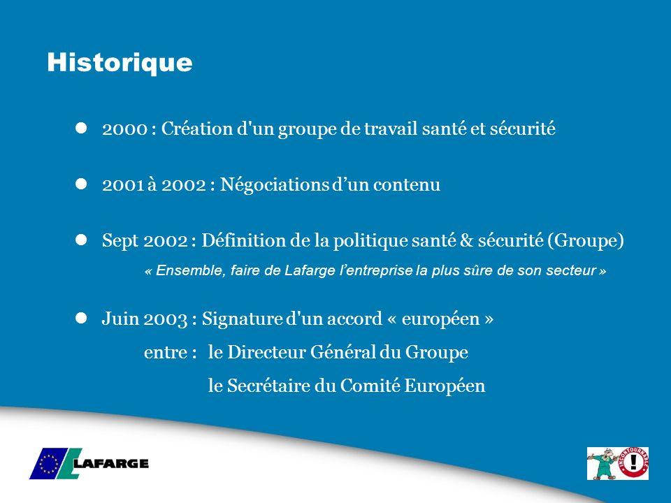 Historique 2000 : Création d un groupe de travail santé et sécurité