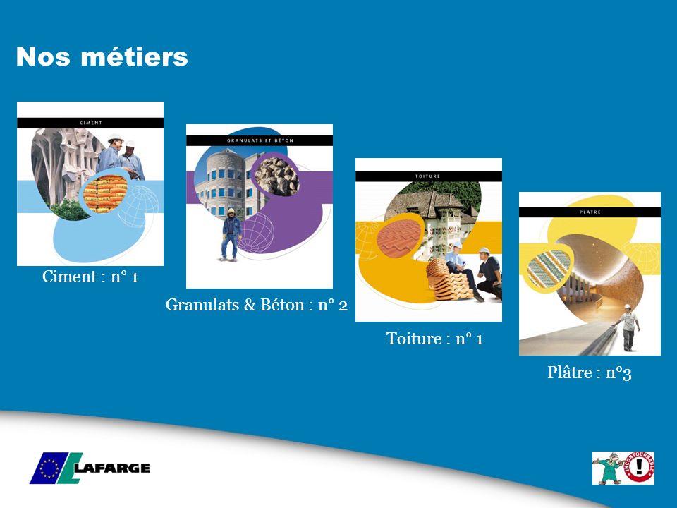 Nos métiers Ciment : n° 1 Granulats & Béton : n° 2 Toiture : n° 1