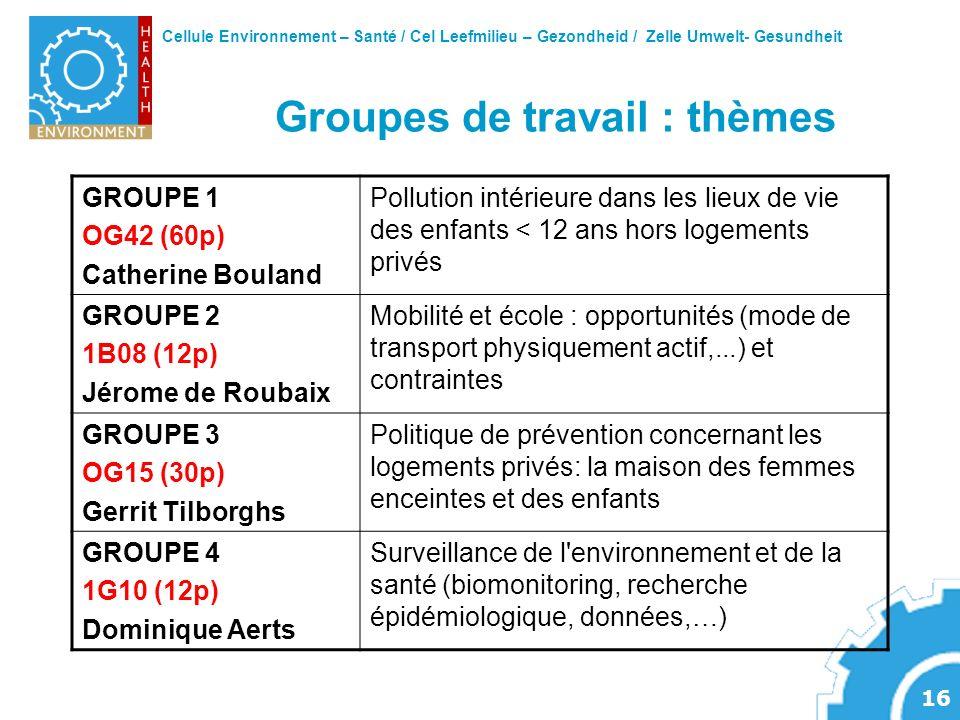 Groupes de travail : thèmes