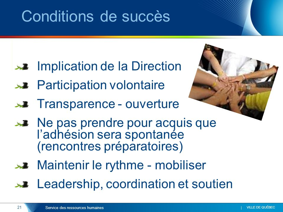 Conditions de succès Implication de la Direction