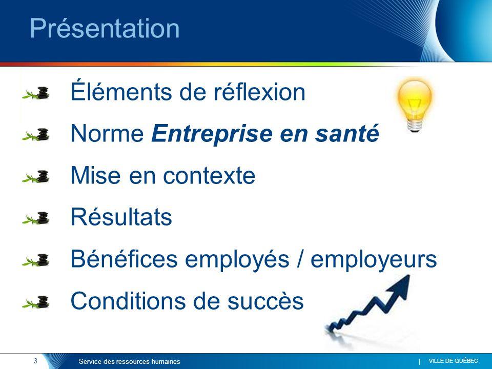 Présentation Éléments de réflexion Norme Entreprise en santé