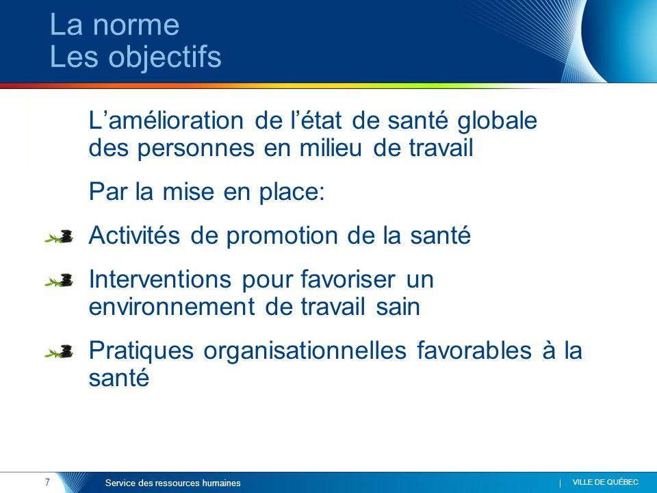 La norme Les objectifs Par la mise en place: