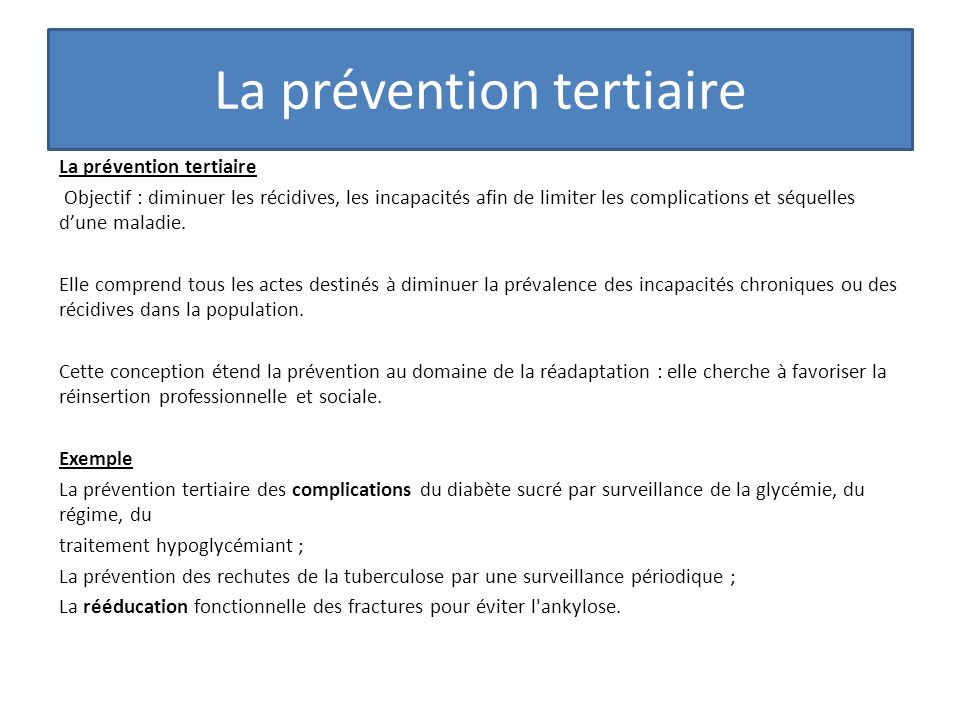 La prévention tertiaire