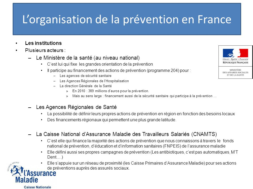 L'organisation de la prévention en France