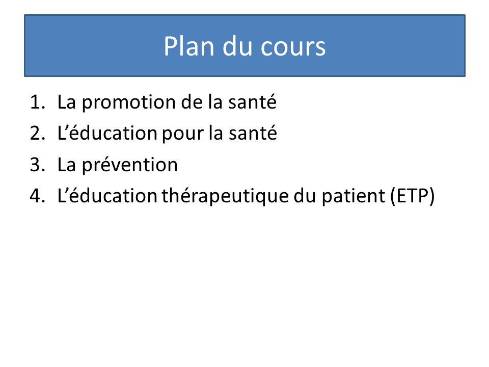 Plan du cours La promotion de la santé L'éducation pour la santé