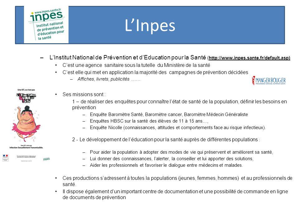 L'Inpes L'Institut National de Prévention et d'Education pour la Santé (http://www.inpes.sante.fr/default.asp)