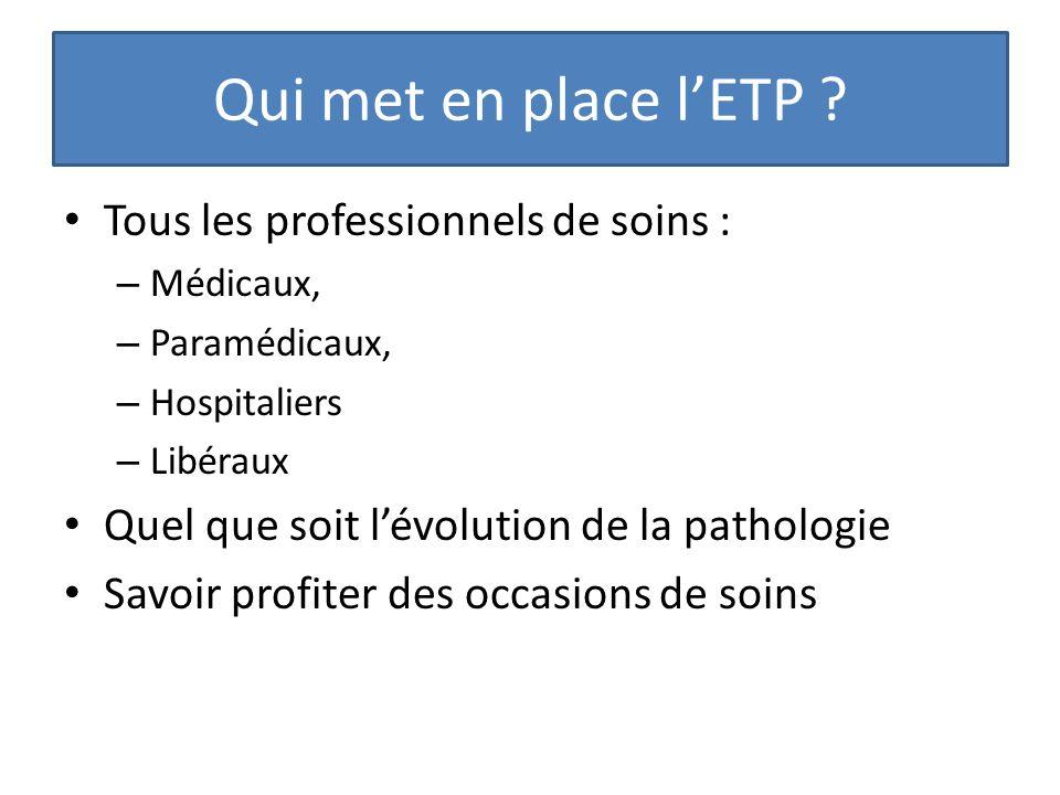 Qui met en place l'ETP Tous les professionnels de soins :